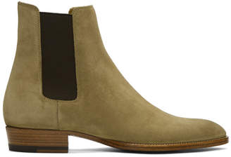 Saint Laurent Tan Suede Wyatt Chelsea Boots