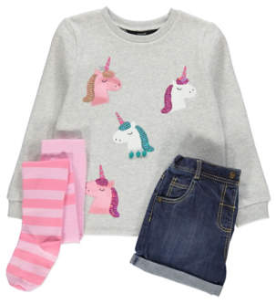 George Unicorn Sweatshirt, Denim Shorts and Tights Outfit