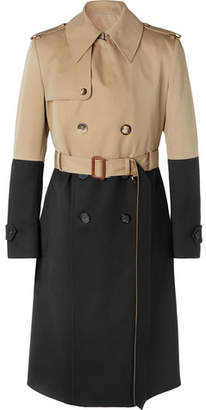 Alexander McQueen Colour-Block Cotton-Gabardine And Wool Trench Coat