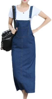 aca342fc5a6 at Amazon Canada · Vemubapis Women Casual Sleeveless Square Neck Shift  Loose Denim Suspender Skirt Long Vest Dress M