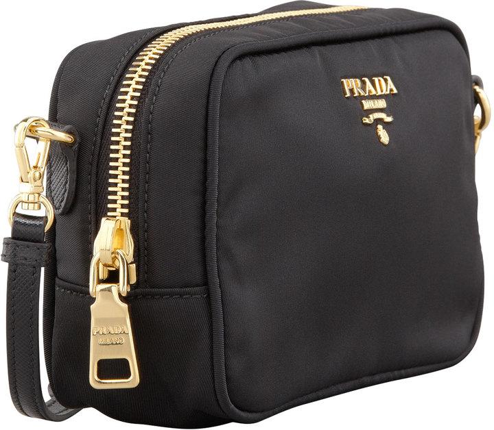 Prada Tessuto Small Crossbody Bag, Black (Nero)