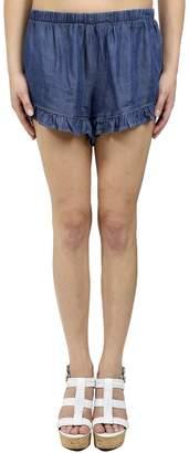 Glam Chambray Ruffle Shorts