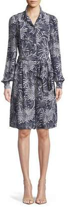 Diane von Furstenberg Printed Button-Up Long-Sleeve Silk Romper