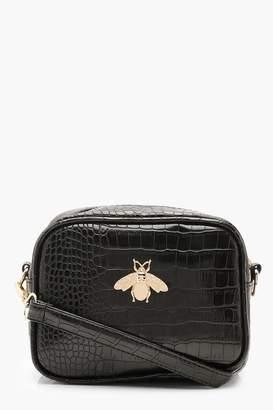boohoo Croc Metal Bug Cross Body Bag