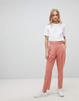 Asos Design DESIGN Tailored Pleat Front High Waist Tapered Trouser With Button & Tab Detail