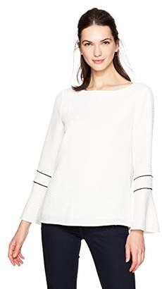Calvin Klein Women's Textured Blouse with Piping