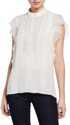 Elie Tahari Antoinette Mock-Neck Ruffle-Sleeve Blouse with Lace