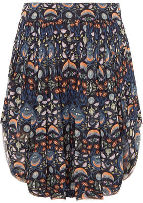 Chloé Pleated Floral-print Georgette Shorts - Blue