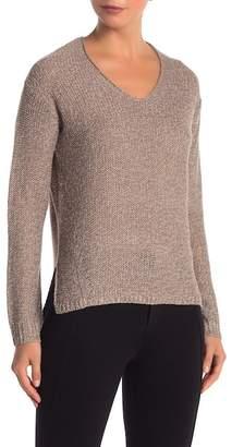 Modern Designer V-Neck Step Hem Tonal Patch Sweater
