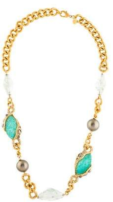 Alexis Bittar Crystal & Faux Pearl Chain Necklace