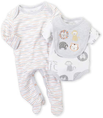 Rene Rofe Newborn Boys) 3-Piece Monkey Bodysuit & Footie Set