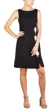 Prada Women's Virgin Wool Large Jeweled Dress Black.