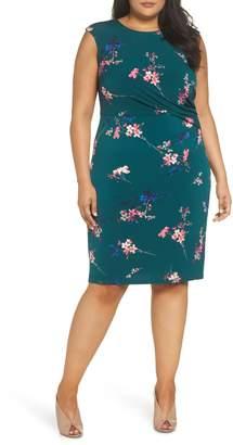 Eliza J Floral Print Cap Sleeve Sheath Dress
