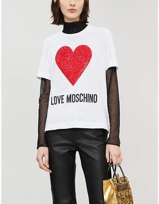 Love Moschino Glitter heart cotton T-shirt