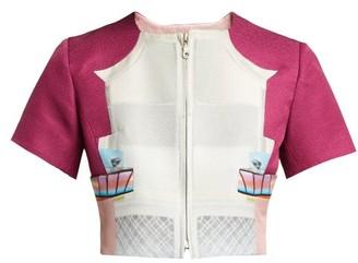 Mary Katrantzou Picket Parade Printed Matelasse Cropped Jacket - Womens - Pink White