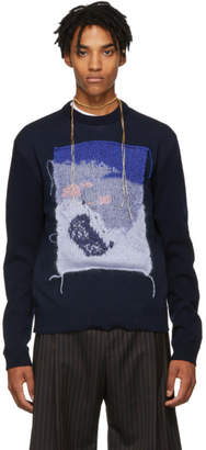 Acne Studios Navy and Blue Applique Crewneck Sweater