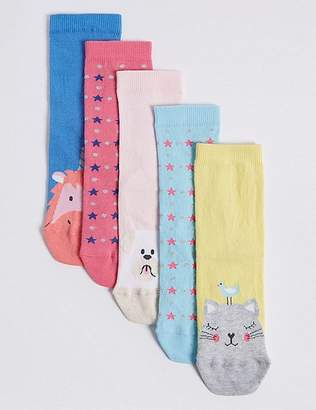 Marks and Spencer 5 Pairs of Cotton Rich Novelty Socks (1-14 Years)