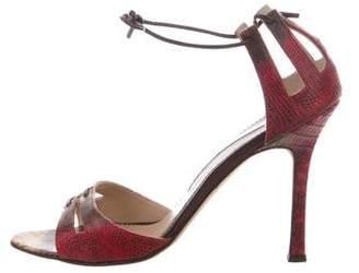 Manolo Blahnik Lizard Round-Toe Sandals