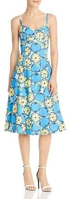 Moschino Lemon-Print A-Line Midi Dress