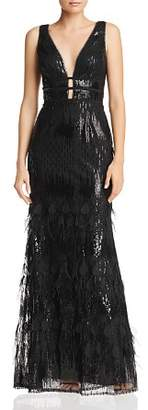 Avery G Plunging Embellished Gown