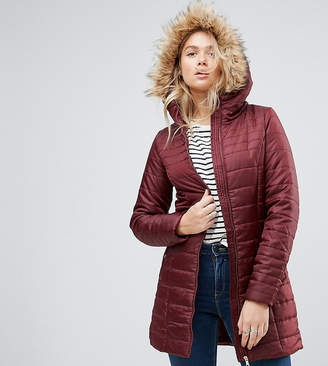 Vero Moda Tall Padded Faux Fur Belted Parka