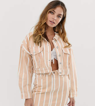 Missguided Petite denim jacket in stripe