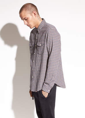 Vince Micro Plaid Western Cotton Shirt