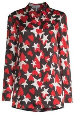 Escada Sport Heart& Star Print Silk Button-Down Shirt