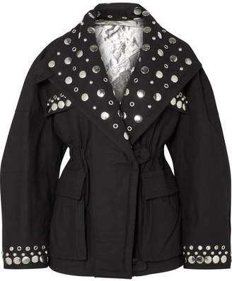 Isabel Marant Emmetis Reversible Embellished Cotton-canvas Jacket - Black