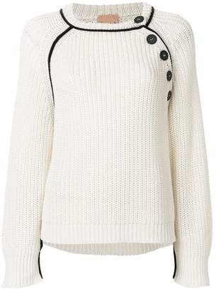 Nude chunky knit button sweater