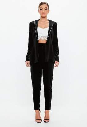 Missguided Black Velvet Tapered Trousers, Black