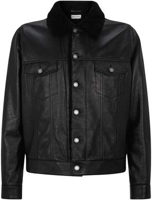 Saint Laurent Leather and Shearling Jacket