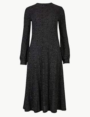 M&S Collection Jersey Long Sleeve Midi Swing Dress