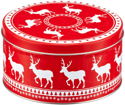 Container Store Small Round Deer Tin Red/White