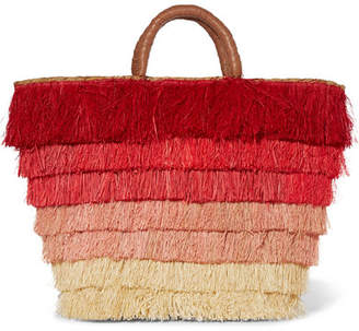 Kayu Pinata Fringed Straw Tote - Red