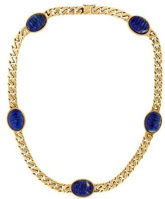 Bvlgari 18K Carved Lapis Station Necklace