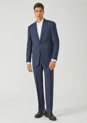 Emporio Armani Regular Fit Suit In Pure Virgin Wool With Single-Breasted Jacket