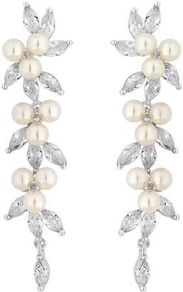 Jon Richard Fine Silver Cubic Zirconia Pearl Crystal Vine Pear Earring