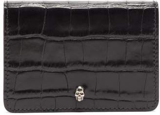 Alexander McQueen Skull Embellished Croc Effect Leather Card Holder - Mens - Black