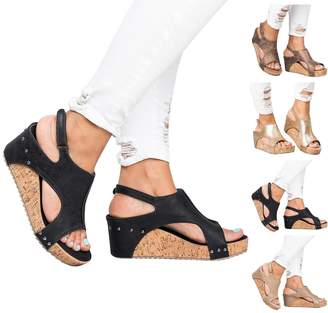 Royou Yiuoer Womens Sandals Espadrille Platform Wedge Sandals Summer Strappy Gladiator Hook-Loop Casual Summer Shoes by US 9
