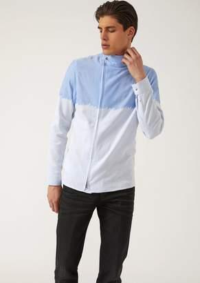 Emporio Armani Zipped Shirt In Tie Dye-Effect Fabric
