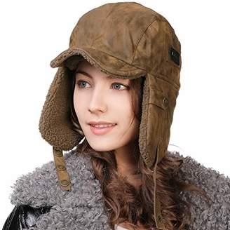 Jeff & Aimy Ear Flap Aviator Trapper Hat Fur Winter Trooper Pilot Cap Windproof Waterproof Hunting Hat Coffee Brown 55-59