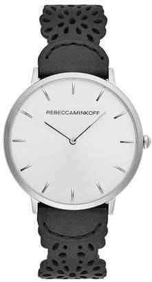 Rebecca Minkoff Major Silver Tone Black Strap Watch, 40Mm