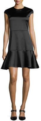 Theory Essential Flare Crewneck A-Line Satin Dress