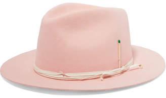 Nick Fouquet Vaya Con Dios Feather-embellished Leather-trimmed Rabbit-felt Fedora - Pastel pink
