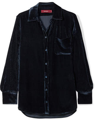 Sies Marjan Sander Silk And Cotton-blend Corduroy Shirt - Navy