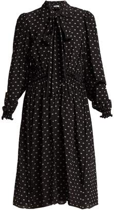 Balenciaga Reverence BB-print tie-neck silk dress