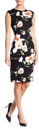 Vince Camuto Floral Print Cap Sleeve Scuba Dress