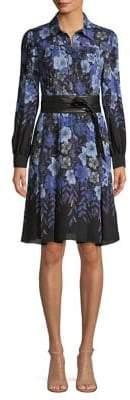 Elie Tahari Floral-Print Belted Shirtdress