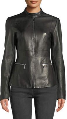 Elie Tahari Deepa Zip-Front Leather Jacket